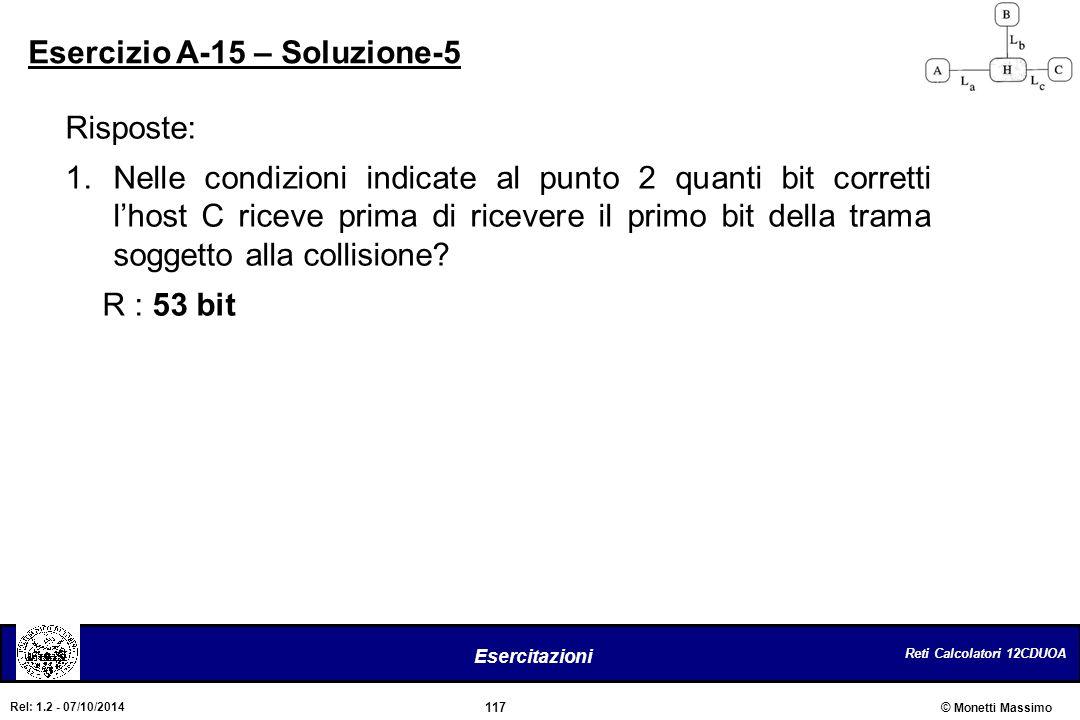 Reti Calcolatori 12CDUOA 117 Esercitazioni © Monetti Massimo Rel: 1.2 - 07/10/2014 Risposte: 1.Nelle condizioni indicate al punto 2 quanti bit corrett