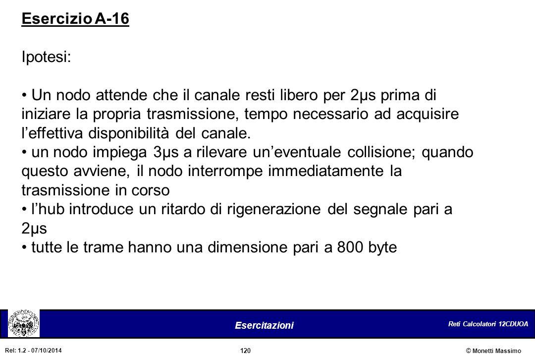 Reti Calcolatori 12CDUOA 120 Esercitazioni © Monetti Massimo Rel: 1.2 - 07/10/2014 Esercizio A-16 Ipotesi: Un nodo attende che il canale resti libero