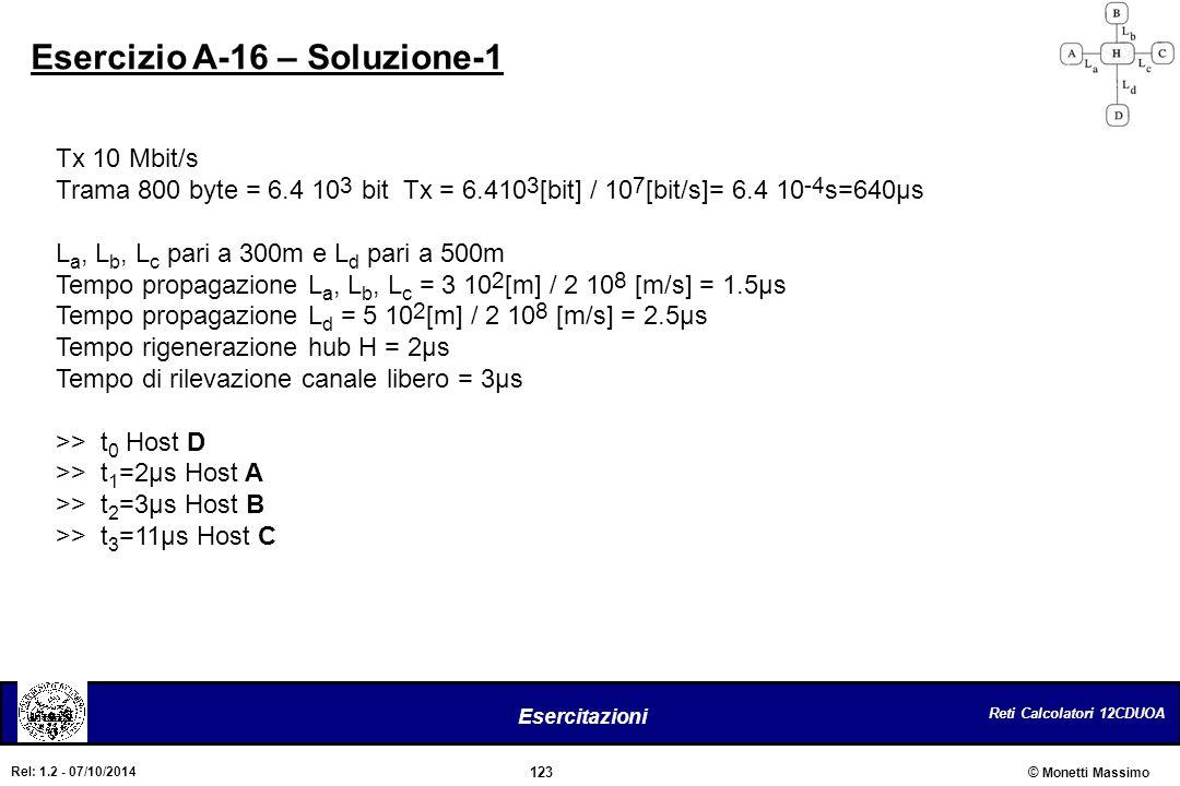 Reti Calcolatori 12CDUOA 123 Esercitazioni © Monetti Massimo Rel: 1.2 - 07/10/2014 Esercizio A-16 – Soluzione-1 Tx 10 Mbit/s Trama 800 byte = 6.4 10 3