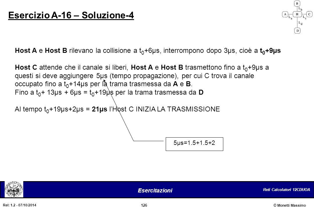 Reti Calcolatori 12CDUOA 126 Esercitazioni © Monetti Massimo Rel: 1.2 - 07/10/2014 Esercizio A-16 – Soluzione-4 Host A e Host B rilevano la collisione