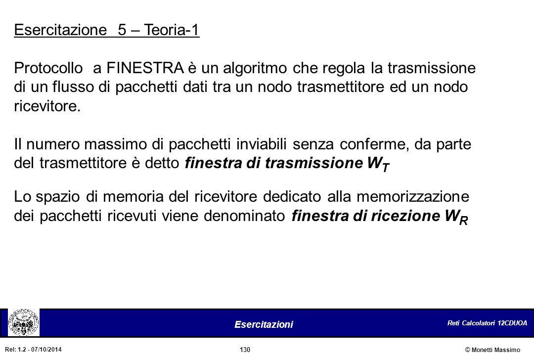 Reti Calcolatori 12CDUOA 130 Esercitazioni © Monetti Massimo Rel: 1.2 - 07/10/2014 Esercitazione 5 – Teoria-1 Protocollo a FINESTRA è un algoritmo che