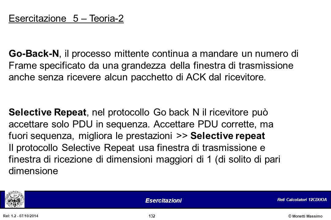 Reti Calcolatori 12CDUOA 132 Esercitazioni © Monetti Massimo Rel: 1.2 - 07/10/2014 Esercitazione 5 – Teoria-2 Go-Back-N, il processo mittente continua
