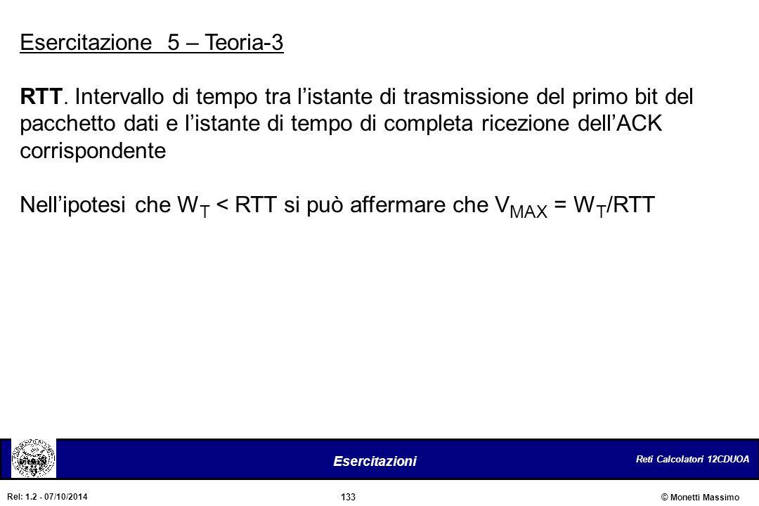 Reti Calcolatori 12CDUOA 133 Esercitazioni © Monetti Massimo Rel: 1.2 - 07/10/2014 Esercitazione 5 – Teoria-3 RTT. Intervallo di tempo tra l'istante d