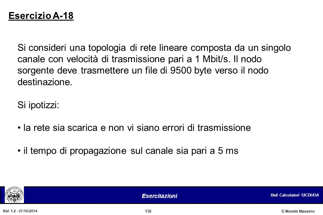 Reti Calcolatori 12CDUOA 136 Esercitazioni © Monetti Massimo Rel: 1.2 - 07/10/2014 Si consideri una topologia di rete lineare composta da un singolo c