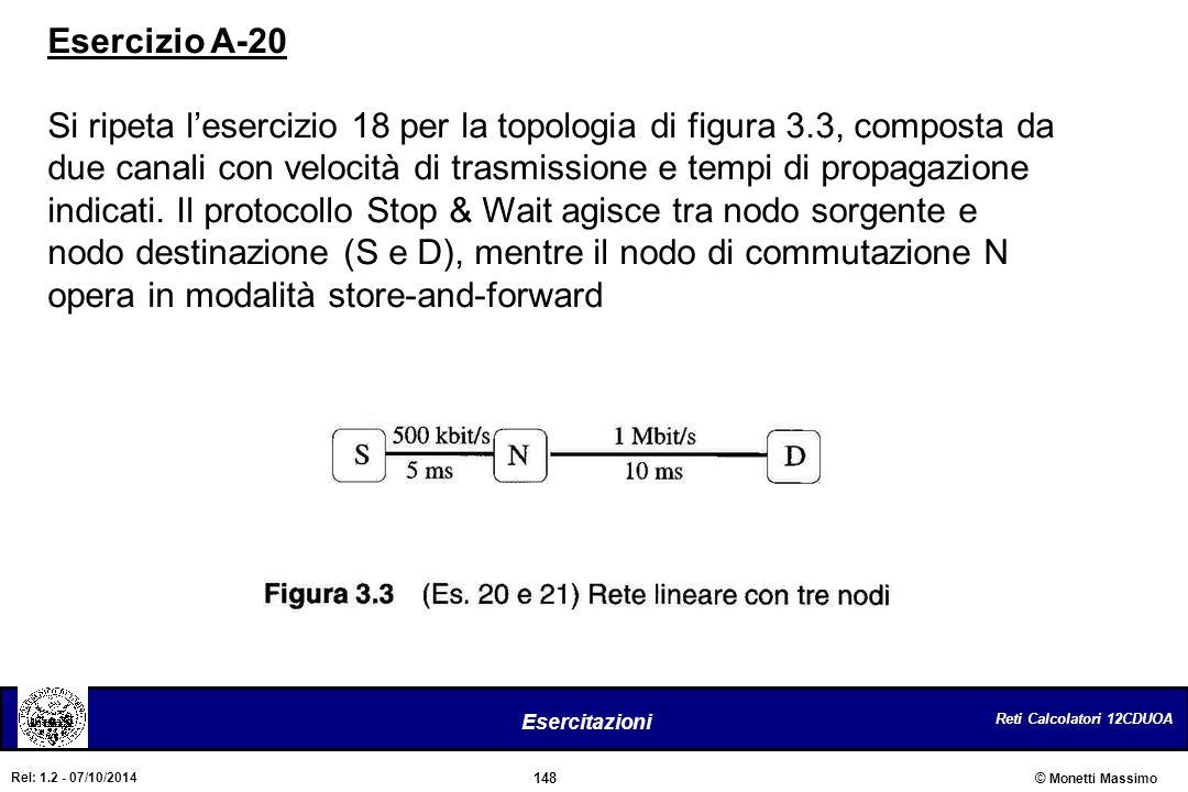 Reti Calcolatori 12CDUOA 148 Esercitazioni © Monetti Massimo Rel: 1.2 - 07/10/2014 Esercizio A-20 Si ripeta l'esercizio 18 per la topologia di figura