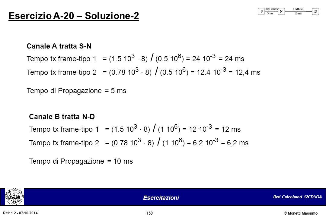 Reti Calcolatori 12CDUOA 150 Esercitazioni © Monetti Massimo Rel: 1.2 - 07/10/2014 Esercizio A-20 – Soluzione-2 Canale A tratta S-N Tempo tx frame-tip