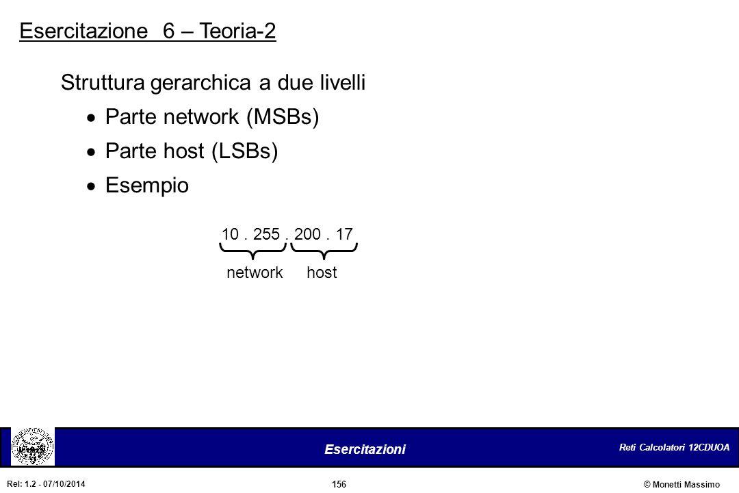 Reti Calcolatori 12CDUOA 156 Esercitazioni © Monetti Massimo Rel: 1.2 - 07/10/2014 10. 255. 200. 17 networkhost Struttura gerarchica a due livelli  P