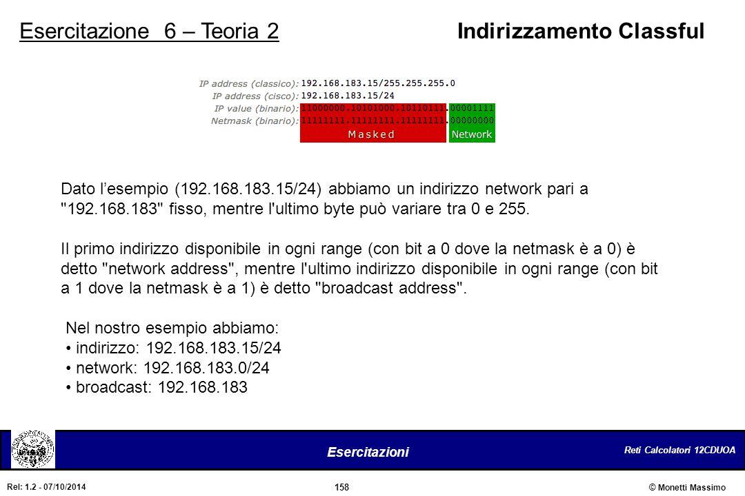 Reti Calcolatori 12CDUOA 158 Esercitazioni © Monetti Massimo Rel: 1.2 - 07/10/2014 Esercitazione 6 – Teoria 2Indirizzamento Classful Dato l'esempio (1