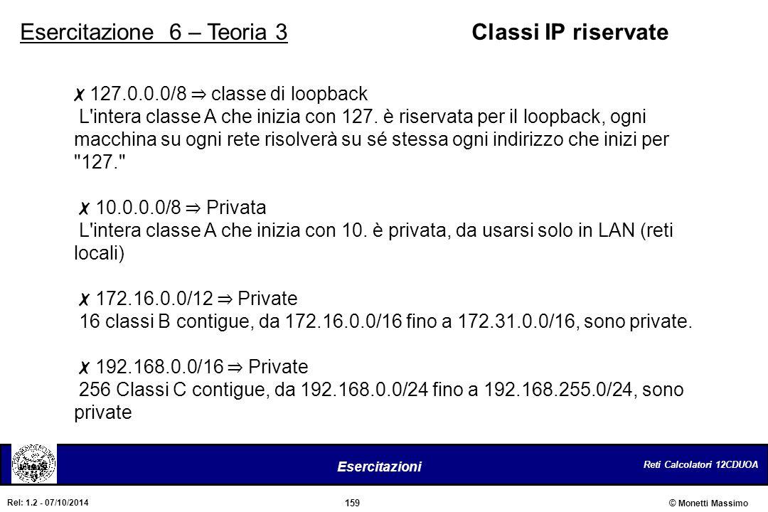 Reti Calcolatori 12CDUOA 159 Esercitazioni © Monetti Massimo Rel: 1.2 - 07/10/2014 Esercitazione 6 – Teoria 3Classi IP riservate ✗ 127.0.0.0/8 ⇒ class