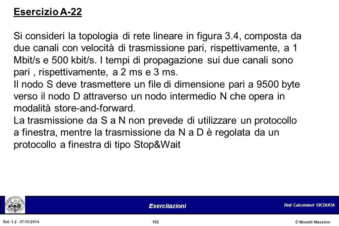 Reti Calcolatori 12CDUOA 166 Esercitazioni © Monetti Massimo Rel: 1.2 - 07/10/2014 Esercizio A-22 Si consideri la topologia di rete lineare in figura