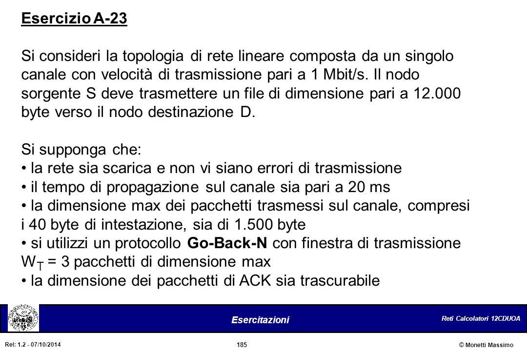 Reti Calcolatori 12CDUOA 185 Esercitazioni © Monetti Massimo Rel: 1.2 - 07/10/2014 Esercizio A-23 Si consideri la topologia di rete lineare composta d