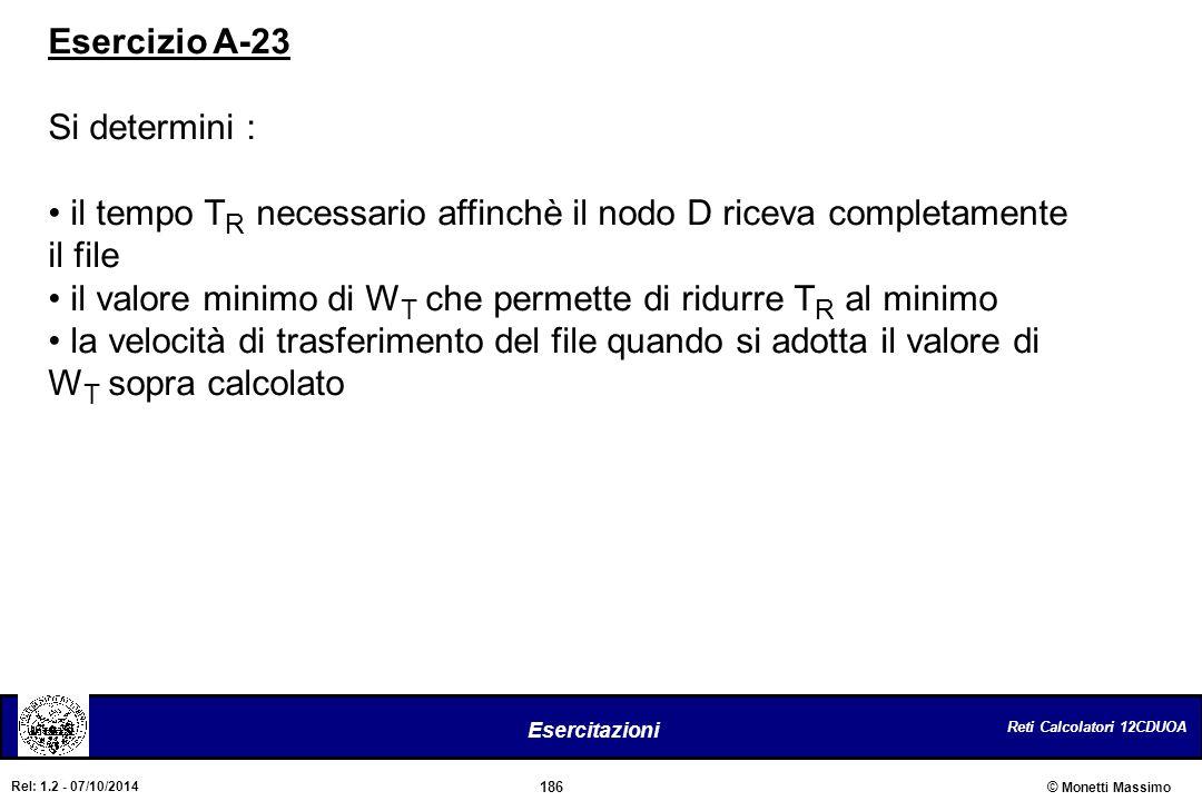 Reti Calcolatori 12CDUOA 186 Esercitazioni © Monetti Massimo Rel: 1.2 - 07/10/2014 Esercizio A-23 Si determini : il tempo T R necessario affinchè il n