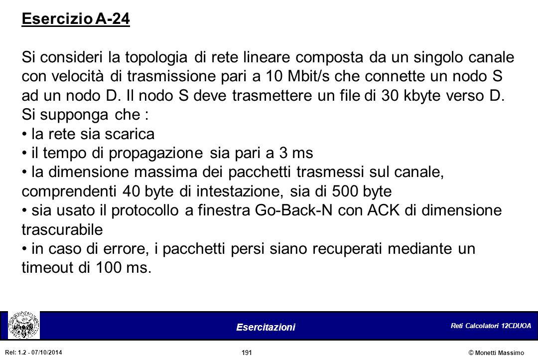 Reti Calcolatori 12CDUOA 191 Esercitazioni © Monetti Massimo Rel: 1.2 - 07/10/2014 Esercizio A-24 Si consideri la topologia di rete lineare composta d