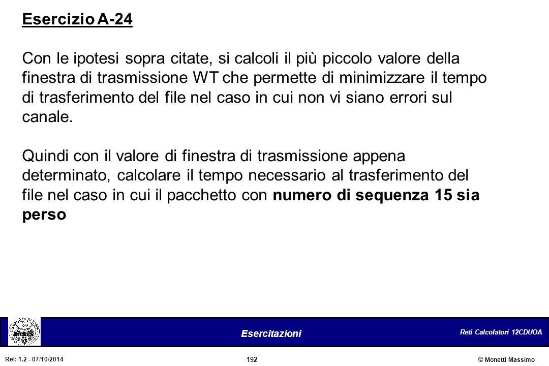 Reti Calcolatori 12CDUOA 192 Esercitazioni © Monetti Massimo Rel: 1.2 - 07/10/2014 Esercizio A-24 Con le ipotesi sopra citate, si calcoli il più picco