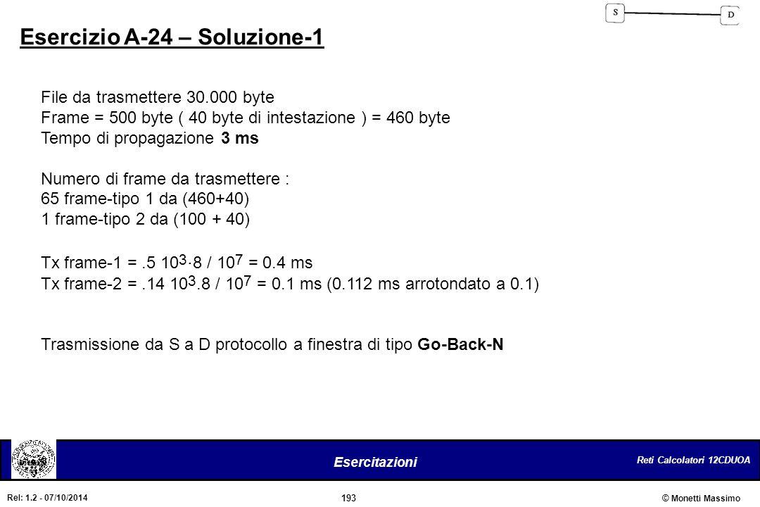 Reti Calcolatori 12CDUOA 193 Esercitazioni © Monetti Massimo Rel: 1.2 - 07/10/2014 Esercizio A-24 – Soluzione-1 File da trasmettere 30.000 byte Frame
