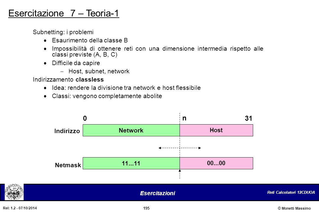 Reti Calcolatori 12CDUOA 195 Esercitazioni © Monetti Massimo Rel: 1.2 - 07/10/2014 Esercitazione 7 – Teoria-1 Network Host 0 n 31 11...11 00...00 Indi