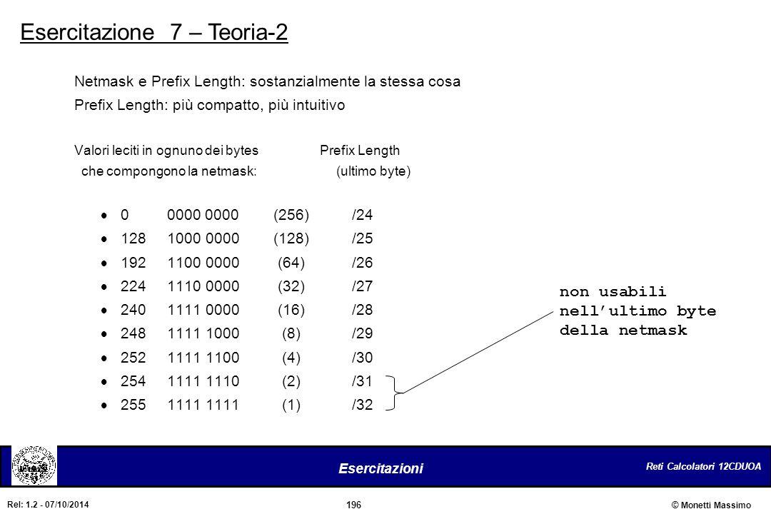 Reti Calcolatori 12CDUOA 196 Esercitazioni © Monetti Massimo Rel: 1.2 - 07/10/2014 Esercitazione 7 – Teoria-2 Netmask e Prefix Length: sostanzialmente