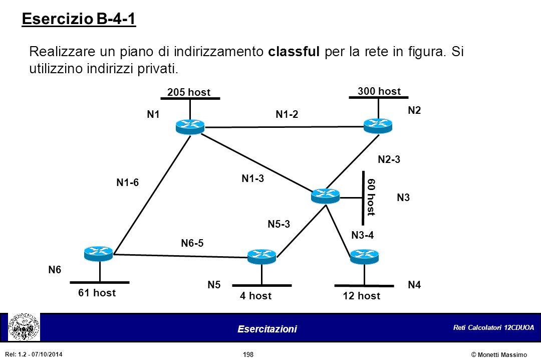 Reti Calcolatori 12CDUOA 198 Esercitazioni © Monetti Massimo Rel: 1.2 - 07/10/2014 Esercizio B-4-1 Realizzare un piano di indirizzamento classful per