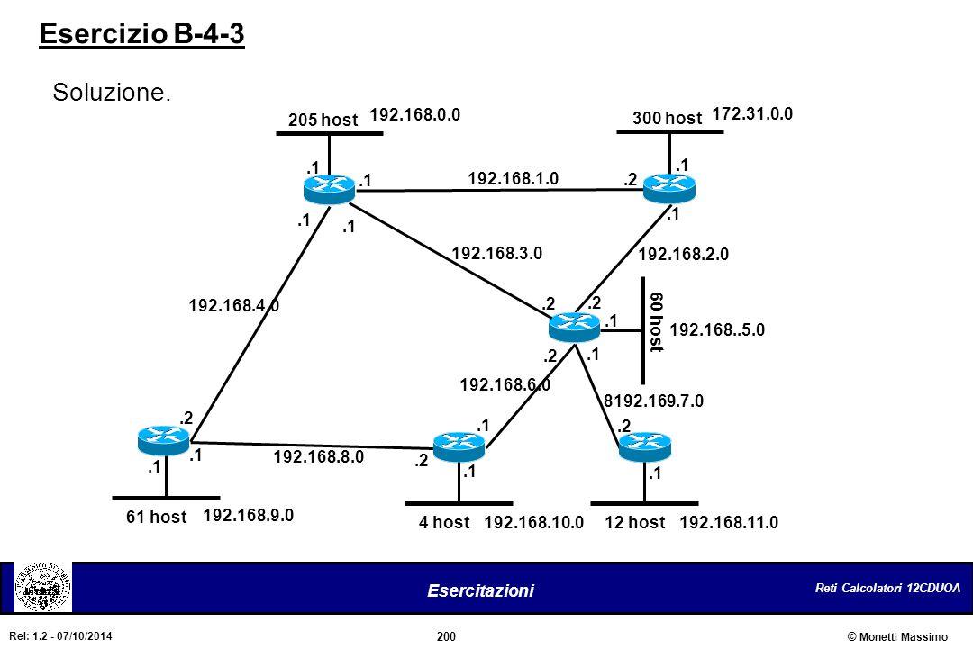 Reti Calcolatori 12CDUOA 200 Esercitazioni © Monetti Massimo Rel: 1.2 - 07/10/2014 205 host 60 host 61 host 12 host4 host 300 host 192.168.1.0.1.2 192