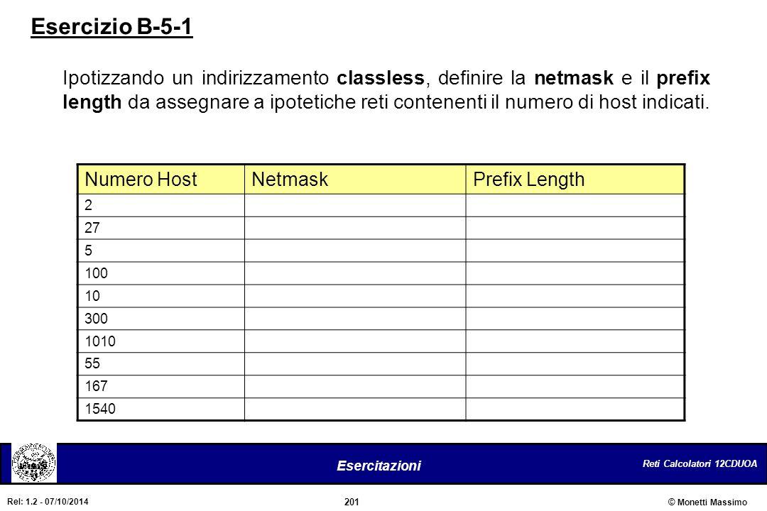 Reti Calcolatori 12CDUOA 201 Esercitazioni © Monetti Massimo Rel: 1.2 - 07/10/2014 Esercizio B-5-1 Ipotizzando un indirizzamento classless, definire l