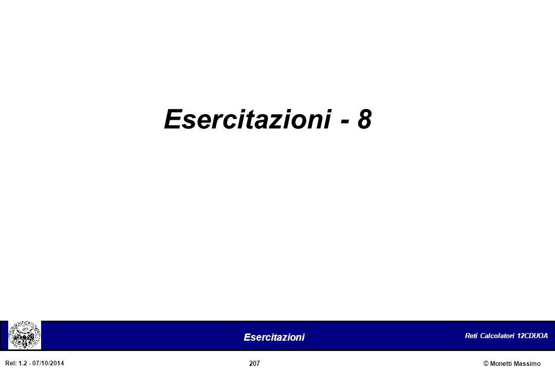 Reti Calcolatori 12CDUOA 207 Esercitazioni © Monetti Massimo Rel: 1.2 - 07/10/2014 Esercitazioni - 8