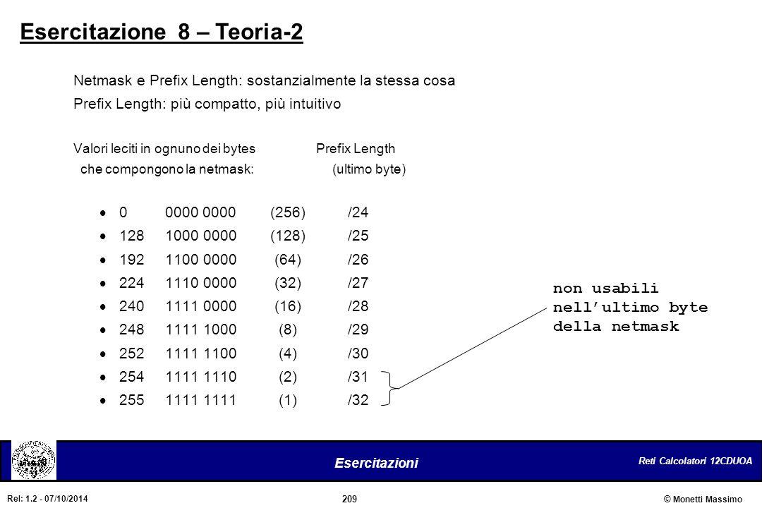 Reti Calcolatori 12CDUOA 209 Esercitazioni © Monetti Massimo Rel: 1.2 - 07/10/2014 Esercitazione 8 – Teoria-2 Netmask e Prefix Length: sostanzialmente