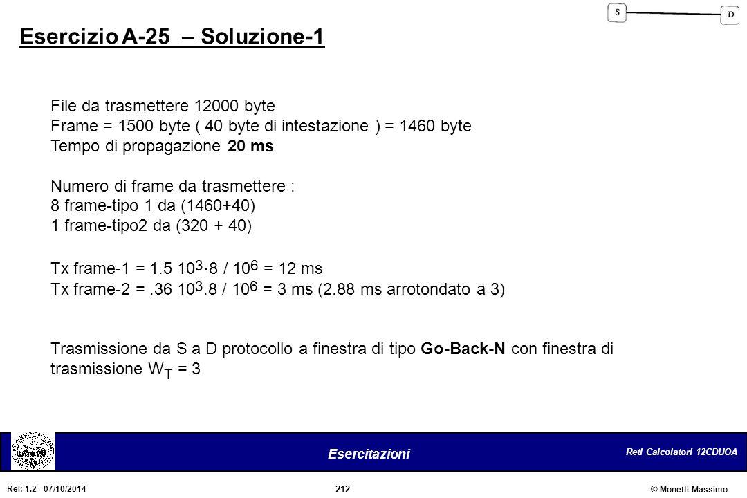 Reti Calcolatori 12CDUOA 212 Esercitazioni © Monetti Massimo Rel: 1.2 - 07/10/2014 Esercizio A-25 – Soluzione-1 File da trasmettere 12000 byte Frame =