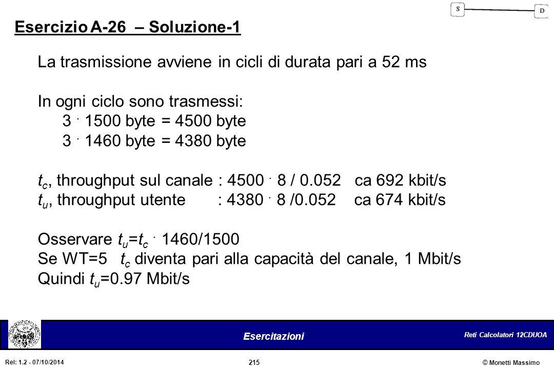 Reti Calcolatori 12CDUOA 215 Esercitazioni © Monetti Massimo Rel: 1.2 - 07/10/2014 Esercizio A-26 – Soluzione-1 La trasmissione avviene in cicli di du