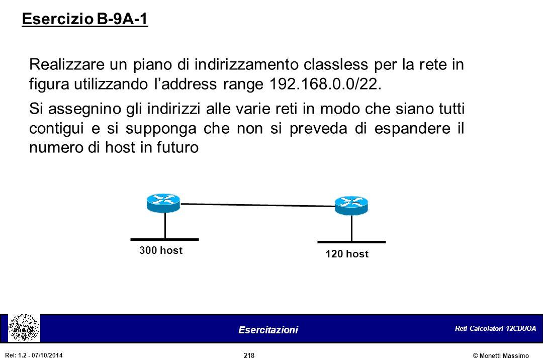 Reti Calcolatori 12CDUOA 218 Esercitazioni © Monetti Massimo Rel: 1.2 - 07/10/2014 Realizzare un piano di indirizzamento classless per la rete in figu