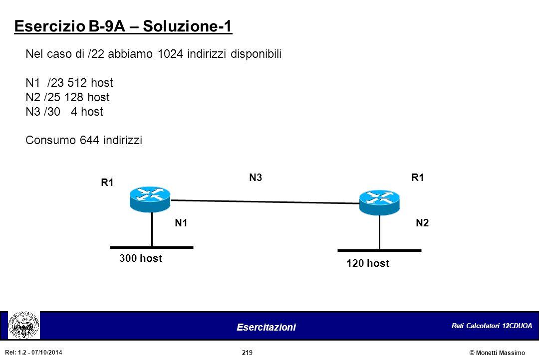 Reti Calcolatori 12CDUOA 219 Esercitazioni © Monetti Massimo Rel: 1.2 - 07/10/2014 Esercizio B-9A – Soluzione-1 Nel caso di /22 abbiamo 1024 indirizzi