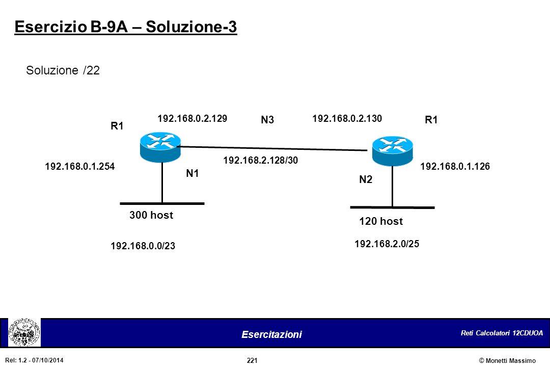 Reti Calcolatori 12CDUOA 221 Esercitazioni © Monetti Massimo Rel: 1.2 - 07/10/2014 Esercizio B-9A – Soluzione-3 Soluzione /22 300 host 120 host R1 N1