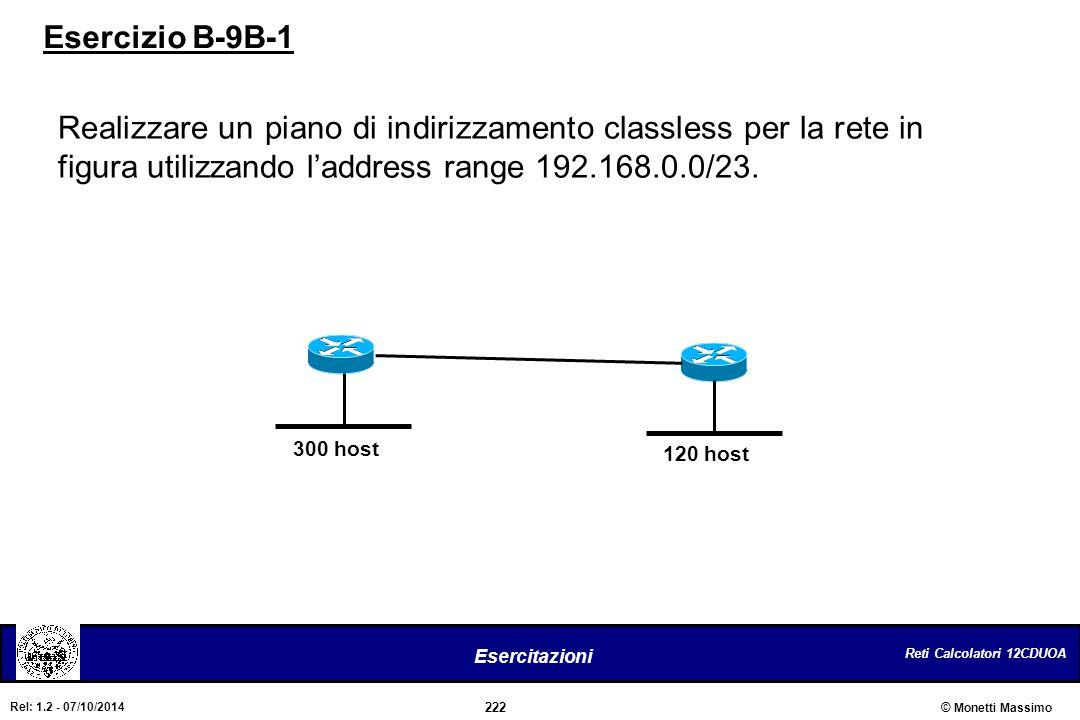 Reti Calcolatori 12CDUOA 222 Esercitazioni © Monetti Massimo Rel: 1.2 - 07/10/2014 Realizzare un piano di indirizzamento classless per la rete in figu