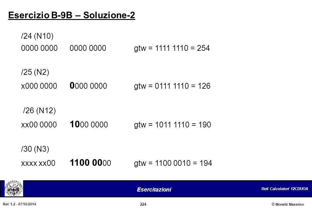 Reti Calcolatori 12CDUOA 224 Esercitazioni © Monetti Massimo Rel: 1.2 - 07/10/2014 /24 (N10) 0000 00000000 0000gtw = 1111 1110 = 254 /25 (N2) x000 000