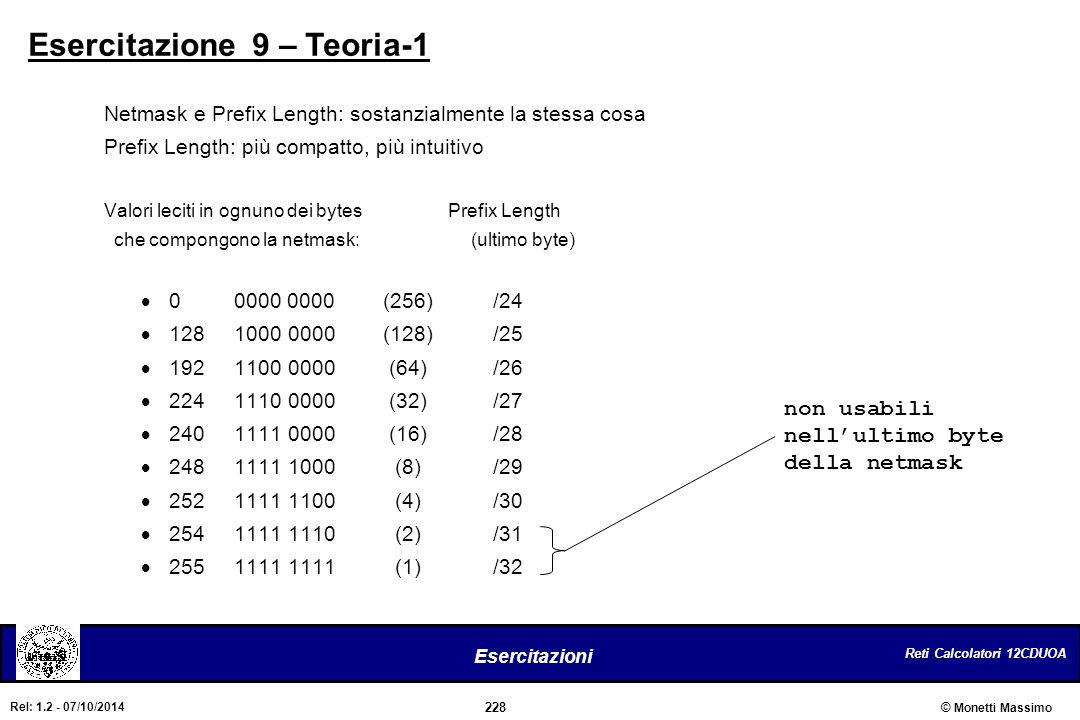 Reti Calcolatori 12CDUOA 228 Esercitazioni © Monetti Massimo Rel: 1.2 - 07/10/2014 Esercitazione 9 – Teoria-1 Netmask e Prefix Length: sostanzialmente