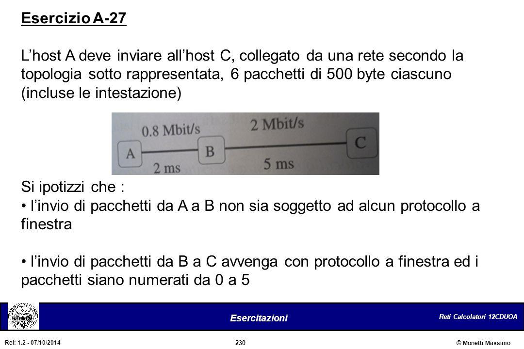 Reti Calcolatori 12CDUOA 230 Esercitazioni © Monetti Massimo Rel: 1.2 - 07/10/2014 Esercizio A-27 L'host A deve inviare all'host C, collegato da una r