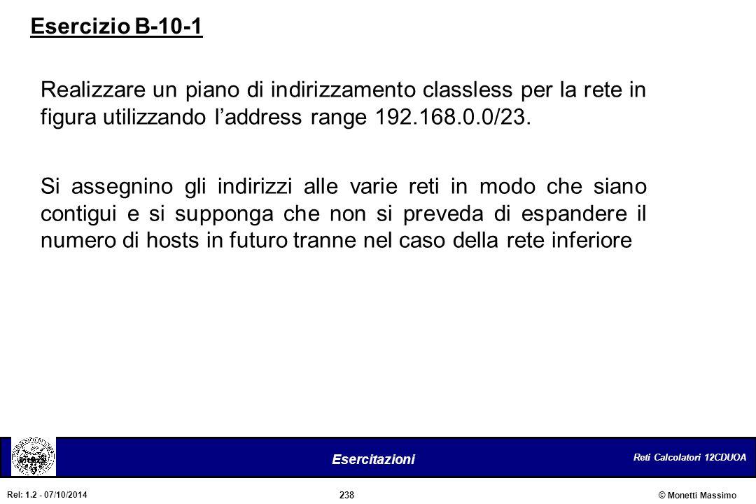 Reti Calcolatori 12CDUOA 238 Esercitazioni © Monetti Massimo Rel: 1.2 - 07/10/2014 Realizzare un piano di indirizzamento classless per la rete in figu