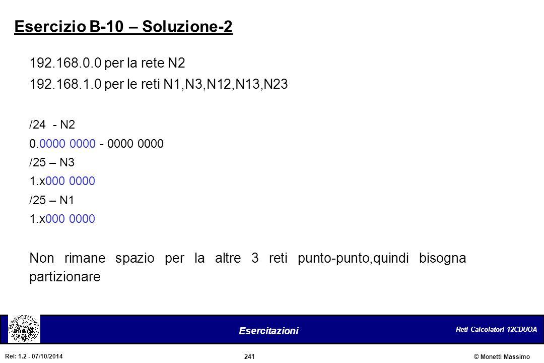 Reti Calcolatori 12CDUOA 241 Esercitazioni © Monetti Massimo Rel: 1.2 - 07/10/2014 Esercizio B-10 – Soluzione-2 192.168.0.0 per la rete N2 192.168.1.0