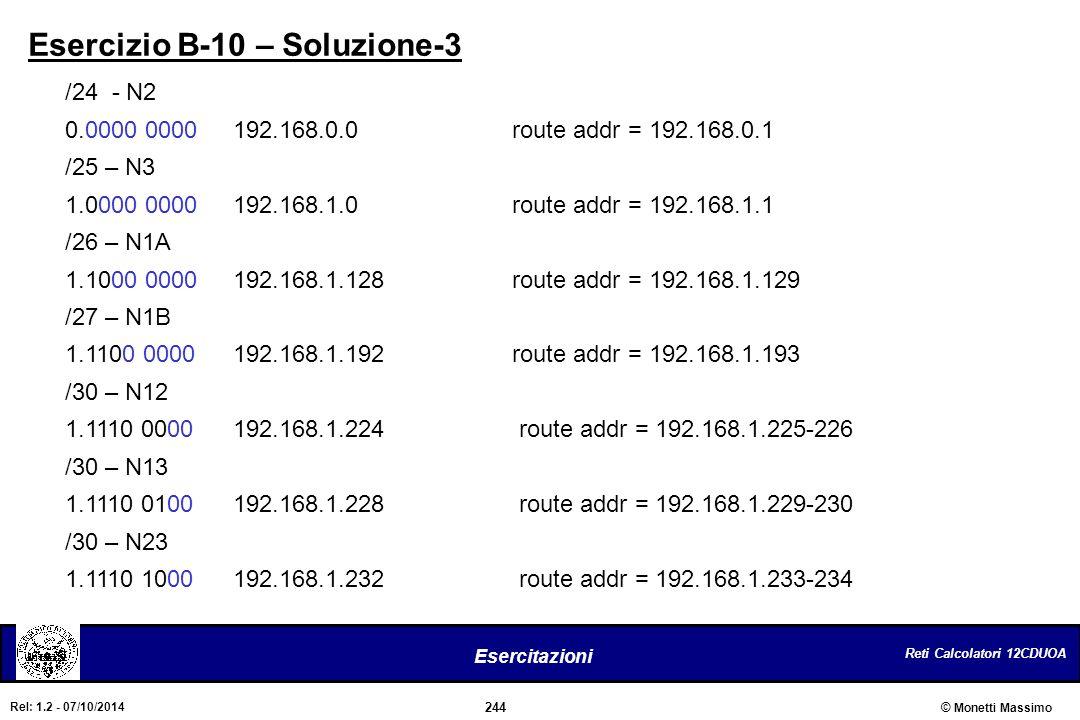 Reti Calcolatori 12CDUOA 244 Esercitazioni © Monetti Massimo Rel: 1.2 - 07/10/2014 Esercizio B-10 – Soluzione-3 /24 - N2 0.0000 0000 192.168.0.0route