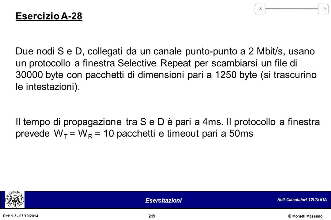 Reti Calcolatori 12CDUOA 249 Esercitazioni © Monetti Massimo Rel: 1.2 - 07/10/2014 Esercizio A-28 Due nodi S e D, collegati da un canale punto-punto a