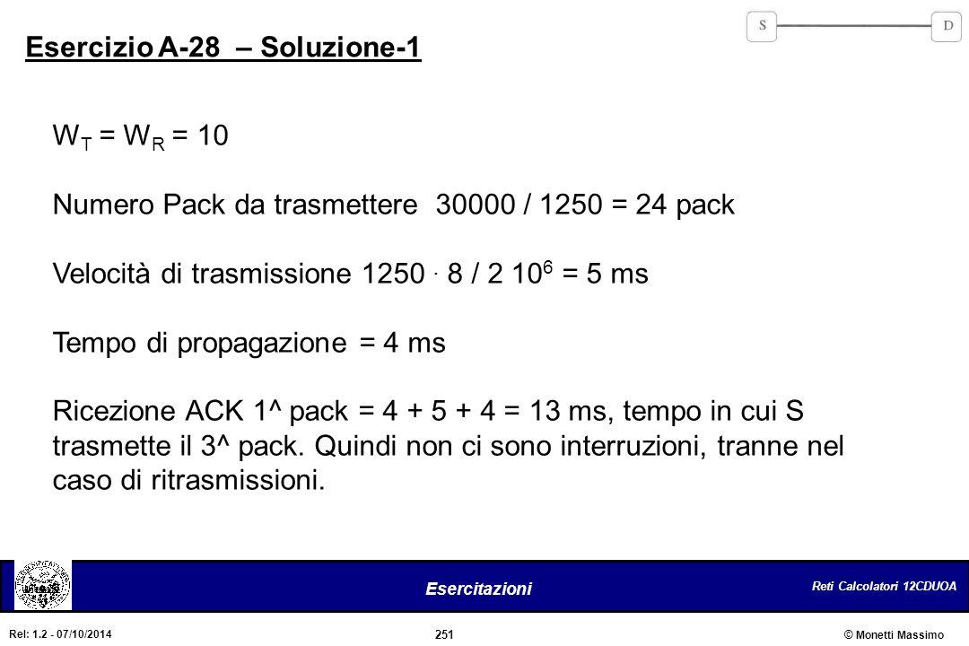 Reti Calcolatori 12CDUOA 251 Esercitazioni © Monetti Massimo Rel: 1.2 - 07/10/2014 Esercizio A-28 – Soluzione-1 W T = W R = 10 Numero Pack da trasmett