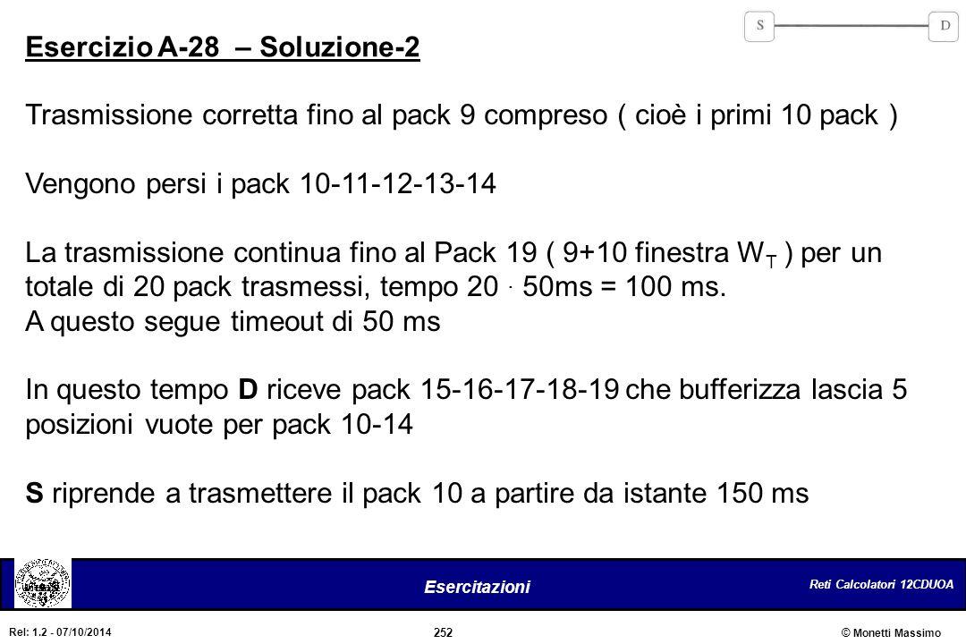 Reti Calcolatori 12CDUOA 252 Esercitazioni © Monetti Massimo Rel: 1.2 - 07/10/2014 Esercizio A-28 – Soluzione-2 Trasmissione corretta fino al pack 9 c