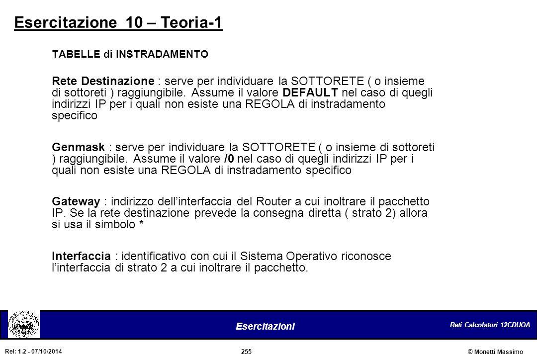 Reti Calcolatori 12CDUOA 255 Esercitazioni © Monetti Massimo Rel: 1.2 - 07/10/2014 Esercitazione 10 – Teoria-1 TABELLE di INSTRADAMENTO Rete Destinazi