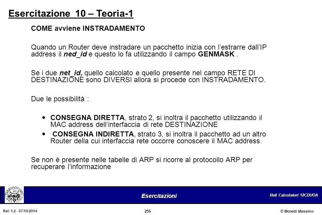 Reti Calcolatori 12CDUOA 256 Esercitazioni © Monetti Massimo Rel: 1.2 - 07/10/2014 Esercitazione 10 – Teoria-1 COME avviene INSTRADAMENTO Quando un Ro