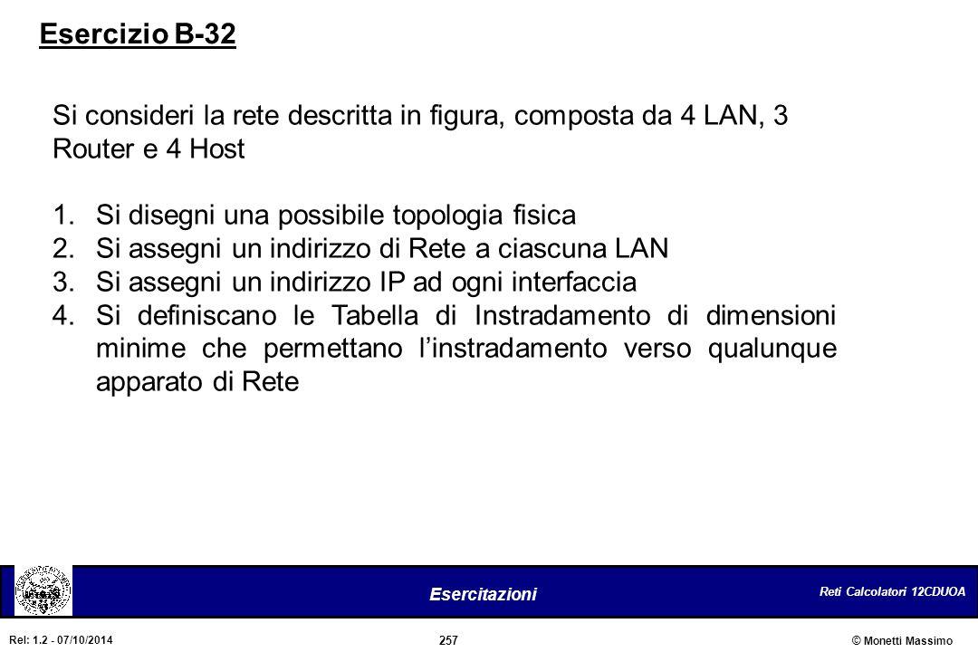 Reti Calcolatori 12CDUOA 257 Esercitazioni © Monetti Massimo Rel: 1.2 - 07/10/2014 Si consideri la rete descritta in figura, composta da 4 LAN, 3 Rout