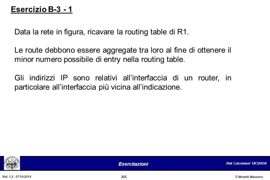 Reti Calcolatori 12CDUOA 266 Esercitazioni © Monetti Massimo Rel: 1.2 - 07/10/2014 Data la rete in figura, ricavare la routing table di R1. Le route d