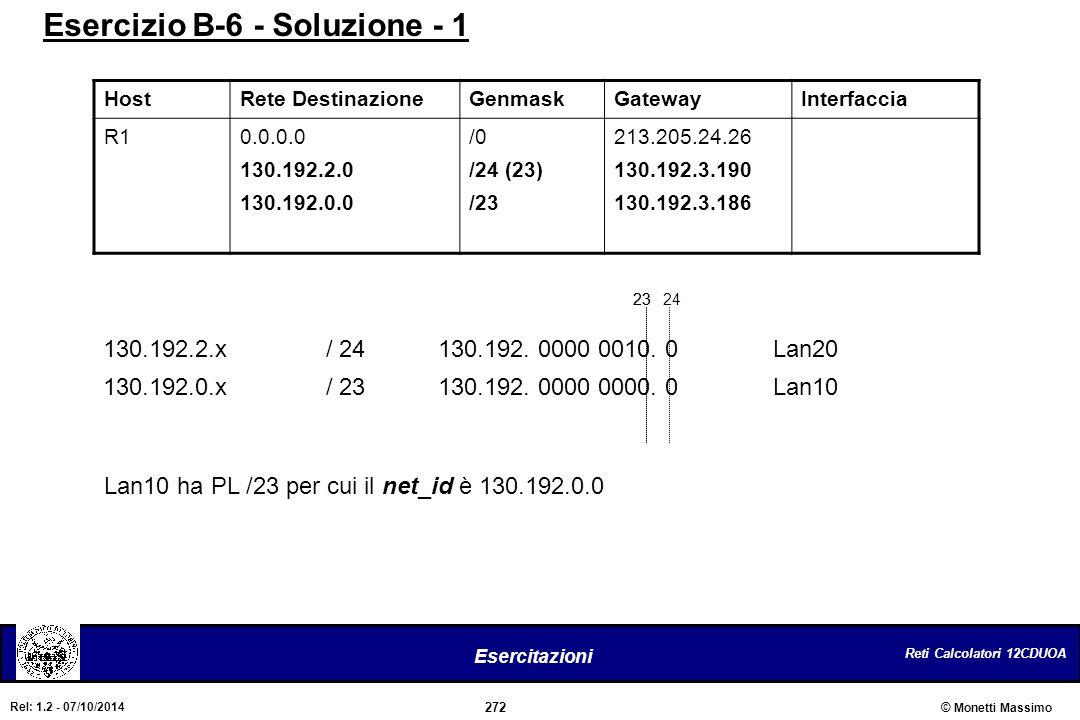 Reti Calcolatori 12CDUOA 272 Esercitazioni © Monetti Massimo Rel: 1.2 - 07/10/2014 HostRete DestinazioneGenmaskGatewayInterfaccia R10.0.0.0 130.192.2.