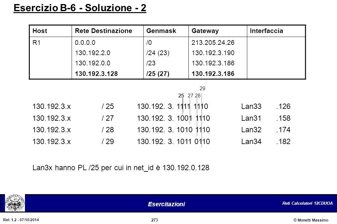 Reti Calcolatori 12CDUOA 273 Esercitazioni © Monetti Massimo Rel: 1.2 - 07/10/2014 HostRete DestinazioneGenmaskGatewayInterfaccia R10.0.0.0 130.192.2.