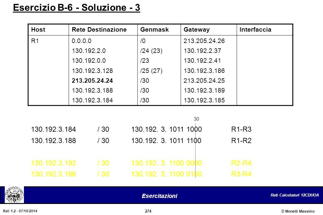 Reti Calcolatori 12CDUOA 274 Esercitazioni © Monetti Massimo Rel: 1.2 - 07/10/2014 HostRete DestinazioneGenmaskGatewayInterfaccia R10.0.0.0 130.192.2.