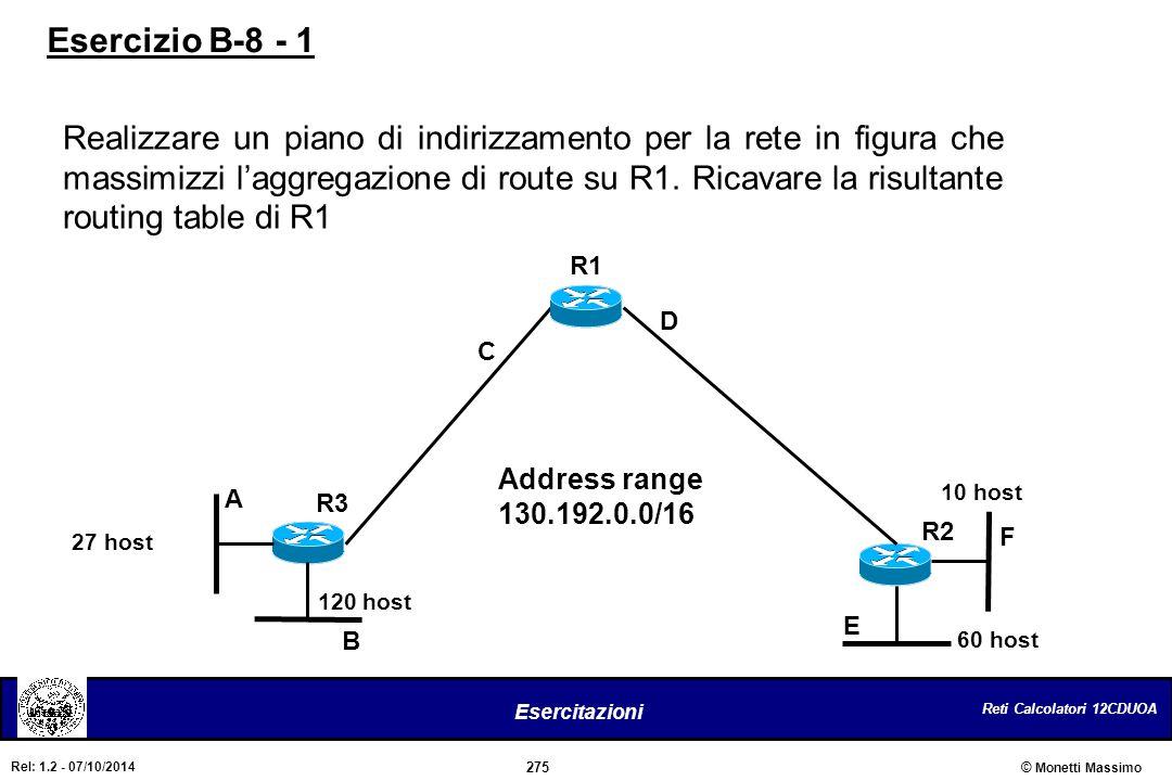 Reti Calcolatori 12CDUOA 275 Esercitazioni © Monetti Massimo Rel: 1.2 - 07/10/2014 Realizzare un piano di indirizzamento per la rete in figura che mas