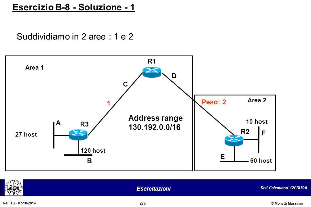 Reti Calcolatori 12CDUOA 276 Esercitazioni © Monetti Massimo Rel: 1.2 - 07/10/2014 Suddividiamo in 2 aree : 1 e 2 Esercizio B-8 - Soluzione - 1 Area 1